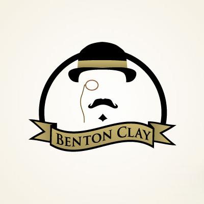 benton clay moustache logo
