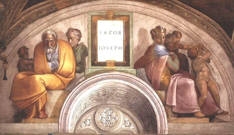 Painting by Michelangelo in the Sistine Chapel of the Vatican: Labelled 'Jacob, Joseph'.  On the left side sits Jacob, with his wife Rachel and her first son Joseph. On the right side is said to be Mary of Nazareth and her husband Joseph.