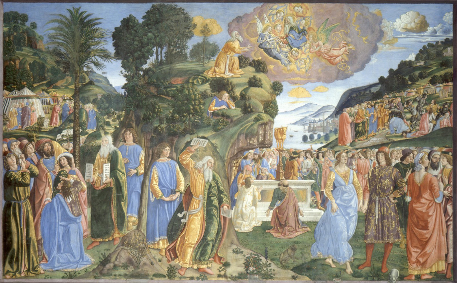 """Moses Rosselli"" by Cosimo Rosselli - Stitched together. Licensed under Public domain via Wikimedia Commons"