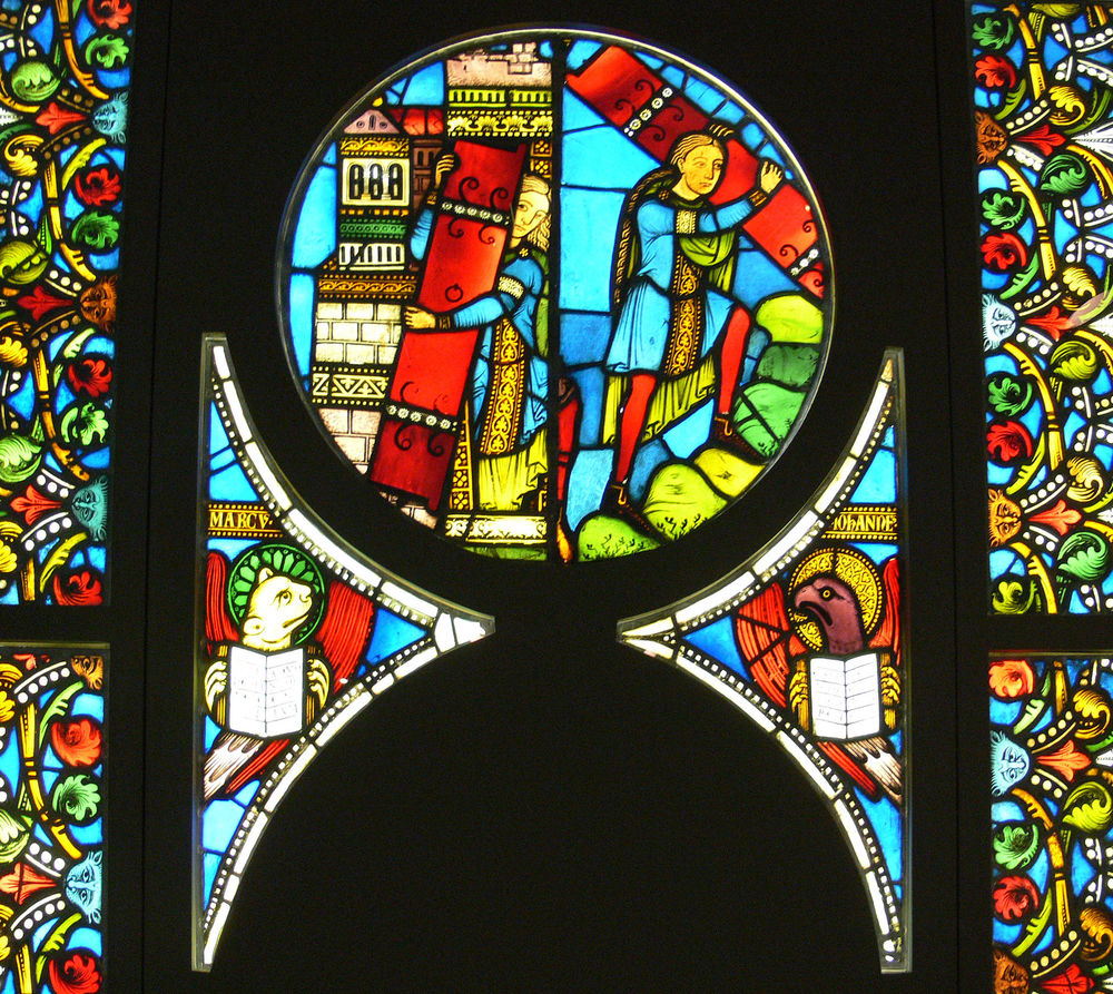 Samson Takes the Gates of Gaza to the Hill Near Hebron , glass window from Kloster Alpirsbach of Strassburg, c. 1160–1170; Landesmuseum, Stuttgart, Germany.