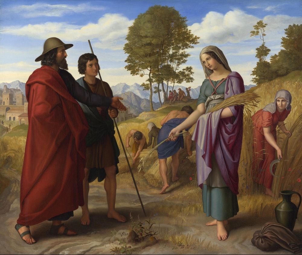 Ruth in the Field with Boaz  by Julius Schnorr von Carolsfeld -  National Gallery, London. Licensed under Public domain via Wikimedia Commons.