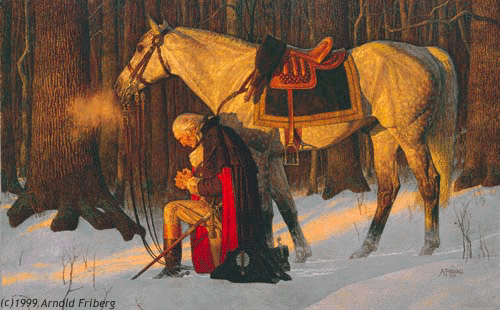 "George Washington in ""The Prayer at Valley Forge""  by Arnold Friberg.  A print of this painting hangs on the staircase to the Upper School at The Imago School"