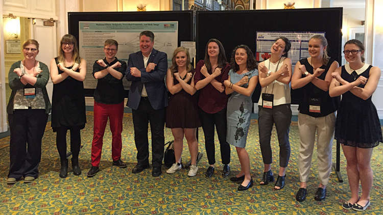 StFX Students at the 2017 CPA Convention in Toronto, Ontario received a special visit from the President of StFX, Dr. Kent MacDonald  Left to Right:  Kay Jenson, Lana Phemister, Dr. Blair, Dr. MacDonald, Margaret Zjadewicz, Breanna O'Handley, Emma van Reekum, Laura Sevigny, Katerina Hirschfeld, Briony Merritt