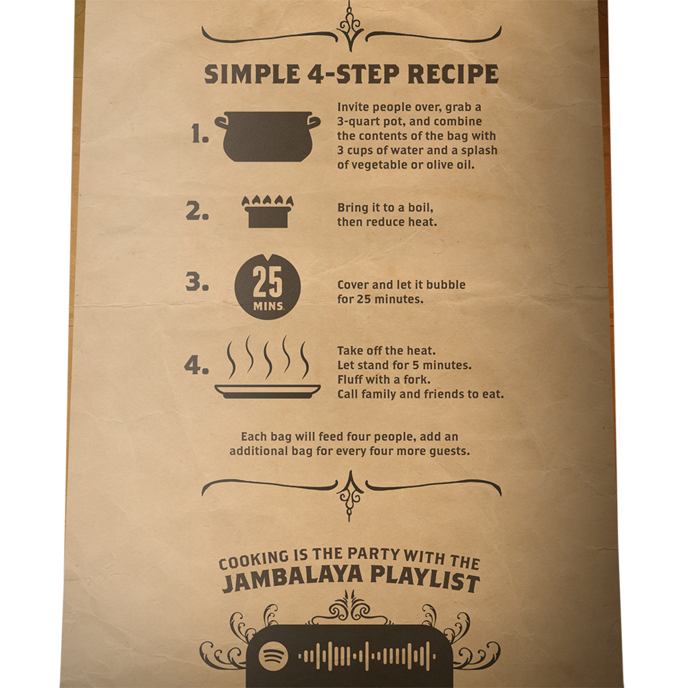 Spotify codes specific to each recipe on the back of each bag