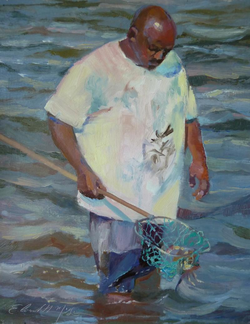 Checking the Catch 11x14 Connecticut studio, oil on board $650