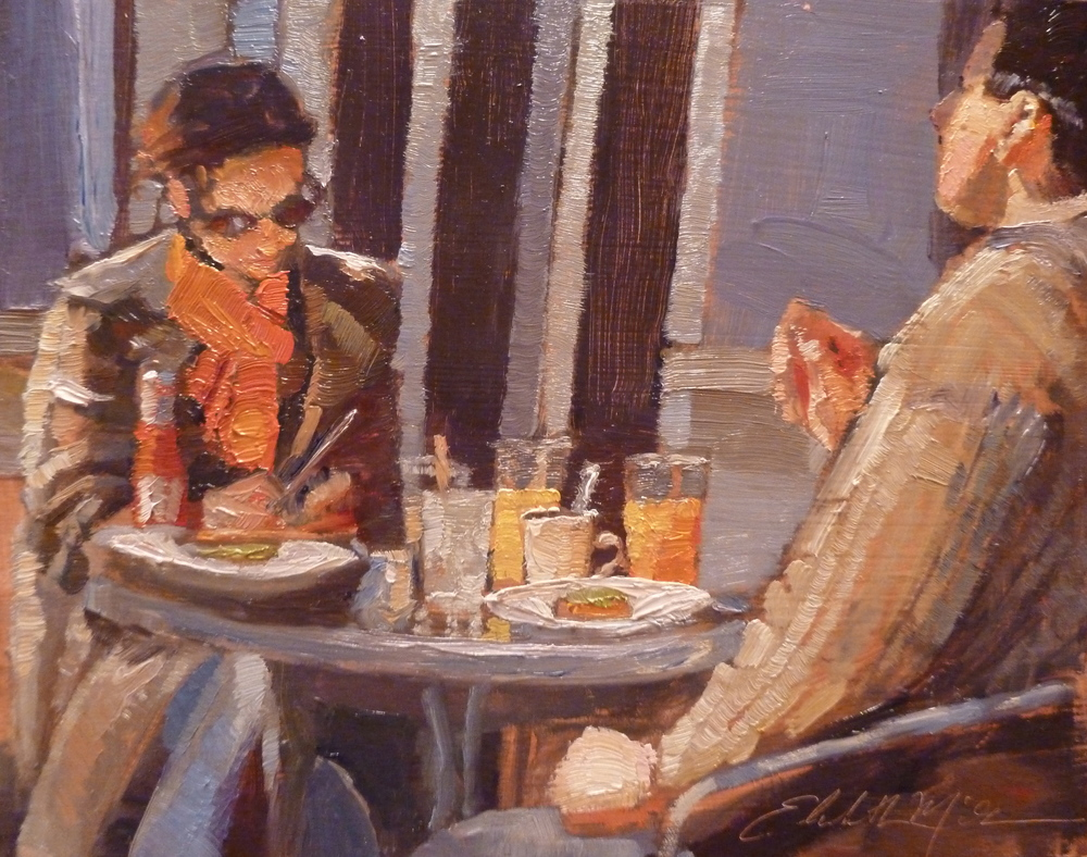 Late Lunch 8x10 oil on panel framed $440.