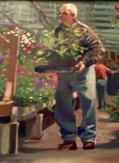 Seedlings 11x14 oil on panel framed $475.