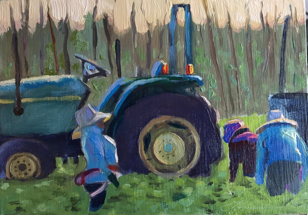Field Study, Oxnard 5x7 oil on panel framed $175.