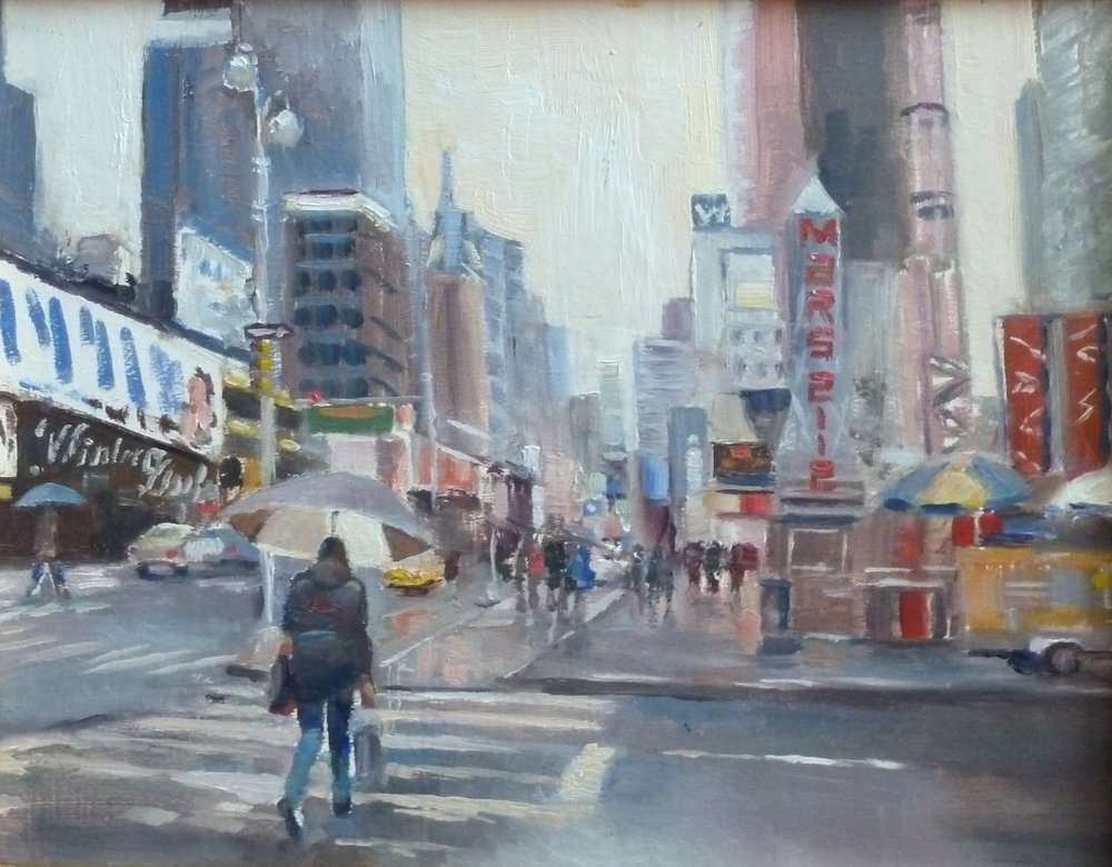 New York Minute 11x14 Connecticut studio, oil on board $575