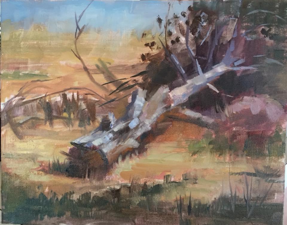 Fallen Pine 8x10 oil on panel framed $350.