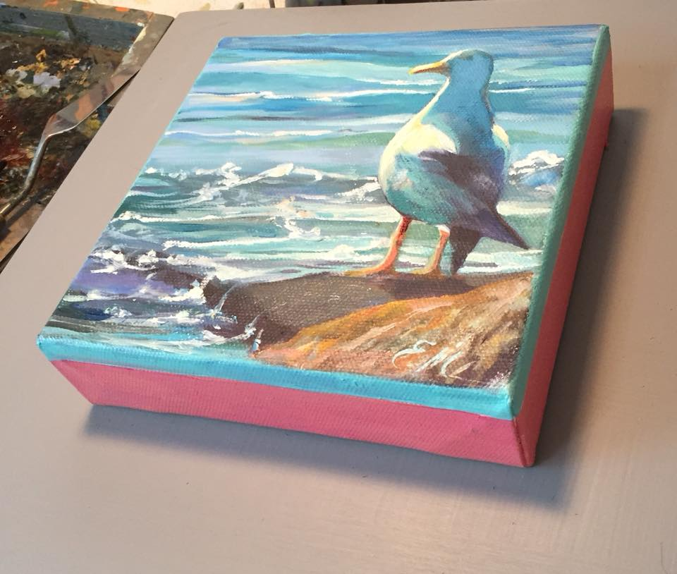 One of the Locals 6x6 boxed canvas unframed $150.