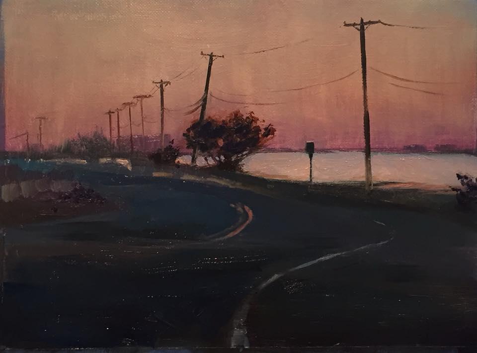 Beach Road Nocturn 6x8 oil on linen framed $275.
