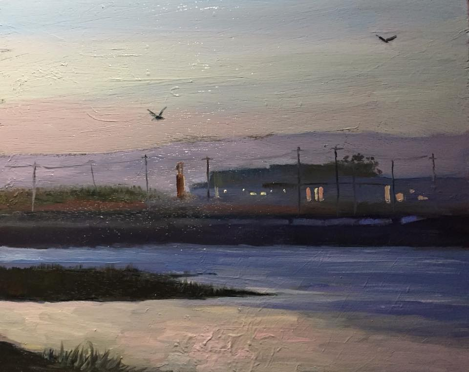 Point Mugu Nocturn 8x10 oil on panel framed $350.