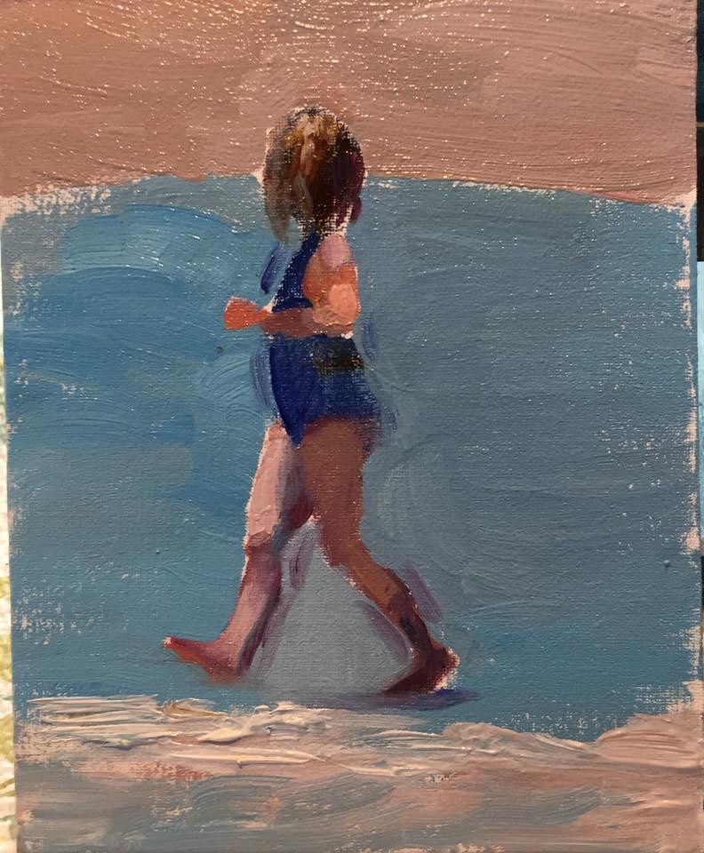 Girl on beach 1, 4x5 oil on panel unframed $95.