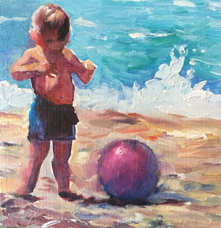Boy with Ball 4x4 oil on panel unframed $80.