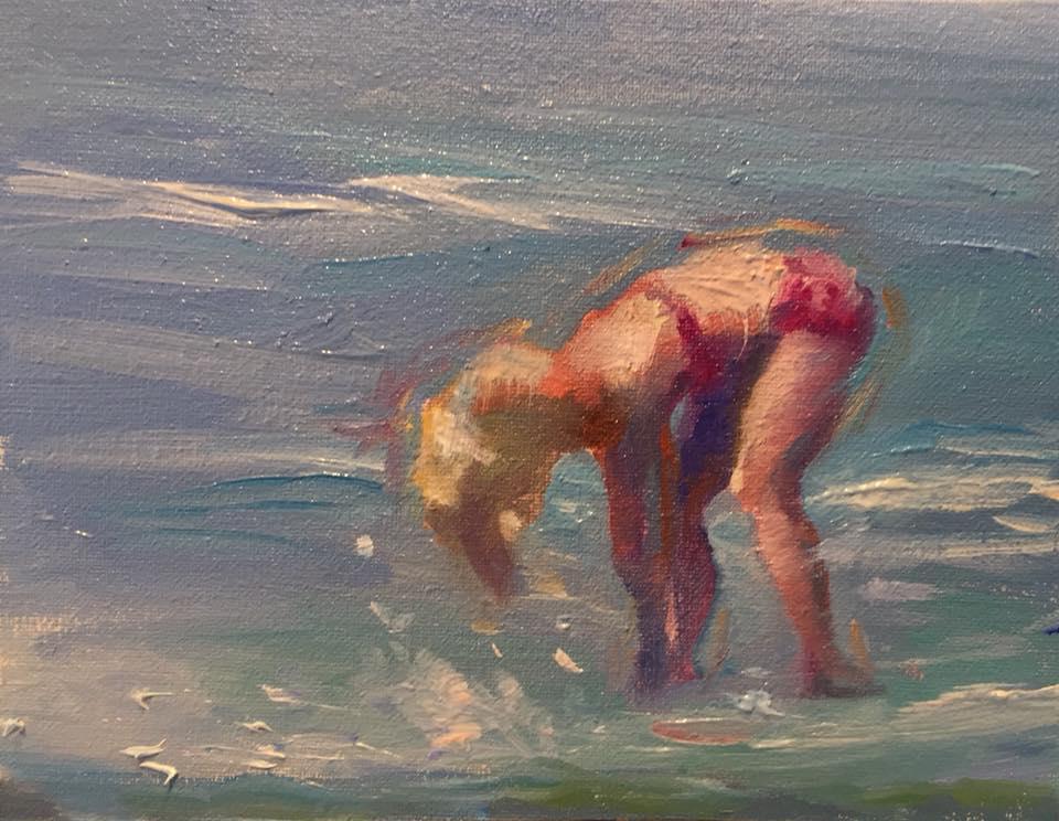 Girl on Beach 3, 4x5 oil on panel unframed $95.