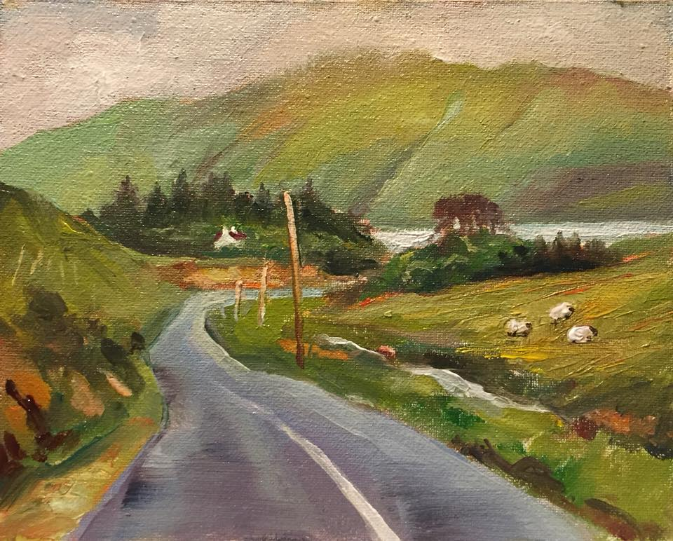 The Way to County Clare 4x5 oil on panel unframed $95.
