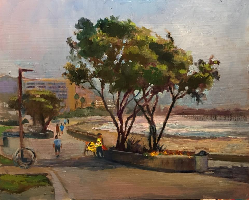 Surfer's Point, Ventura 8x10 oil on panel $350.