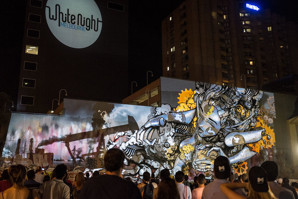 Projection art on graffiti for the White Night in Melbourne