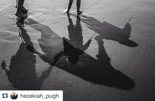 Photo by @hezekiah_pugh ・・・ Shadows and Reflections #beach #oceanshores #bnw_life #bnw_captures #blackandwhitephoto #blackandwhitephotography