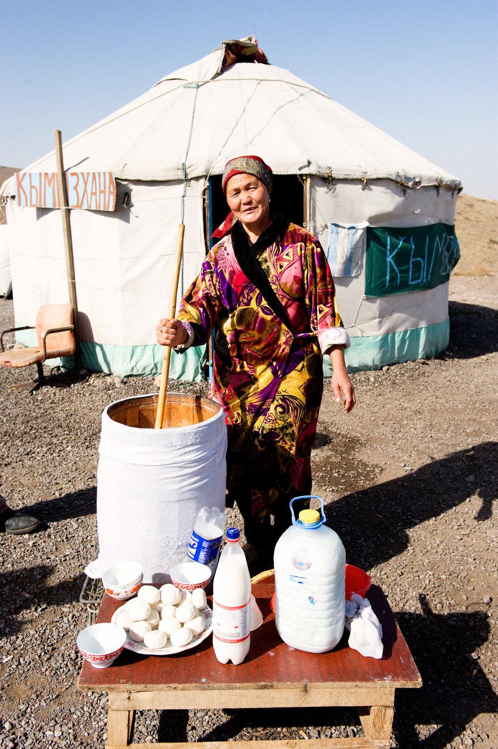 Mare's Milk Vendor - Kazakhstan / Kyrgyzstan Border