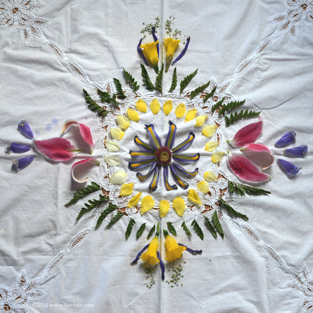 Fare Isle Blog <<Earth Day Every Day>> flower petal mandala