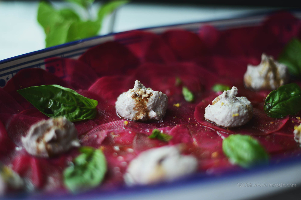 Fare Isle Pickled Raw Beet Carpaccio with Raw Nut Ricotta-Vegan//Gluten Free