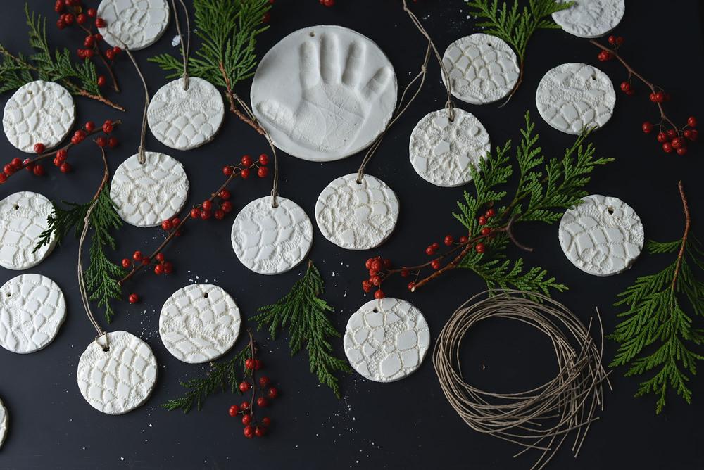 DIY Baking Soda Clay Doily Print Ornaments by Fare Isle