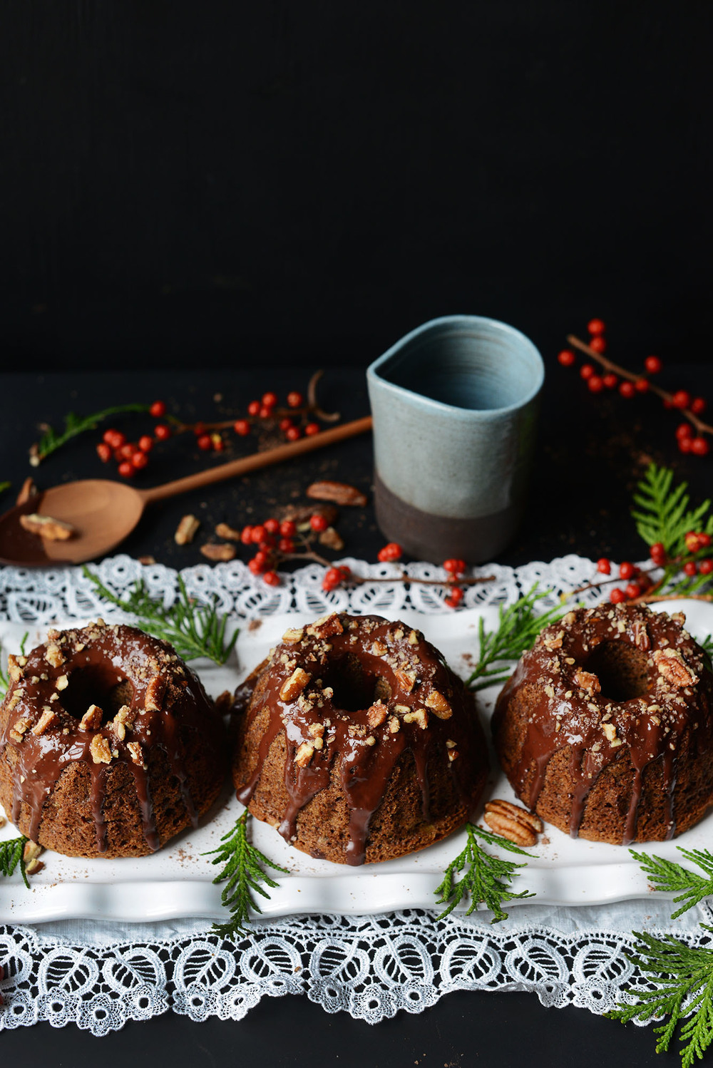 Recipe: Vegan Banana-Buckwheat Pecan Mini Bundts with Chocolate Drizzle by Fare Isle
