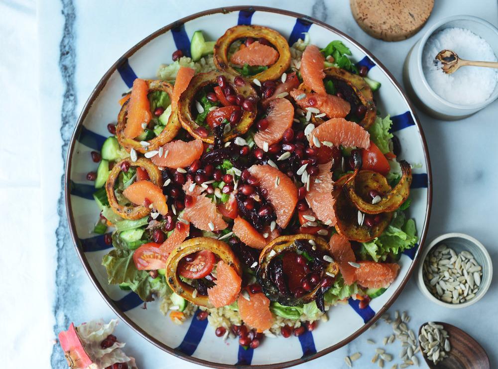 Fare Isle | Roasted Winter Squash & Beet Rice Salad with Cara Cara Vinaigrette