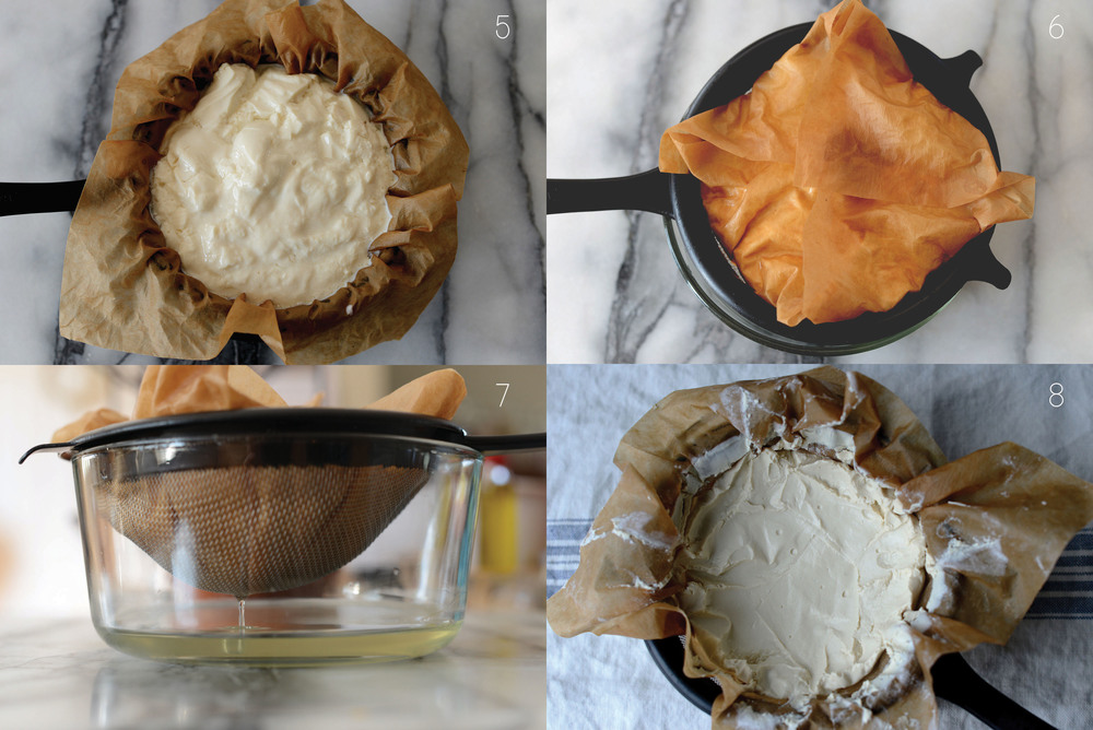 Fig. 5: Strain yogurt through a coffee filter or cheesecloth lined sieve over a bowl.  Fig 6: Fold coffee filter/cheesecloth over yogurt to protect it in the refrigerator.  Fig. 7: Whey being strained from yogurt to transform it into labneh.  Fig. 8: After whey is removed, yogurt is now labneh and is thick with a soft cheese-like consistency, and is ready for use.