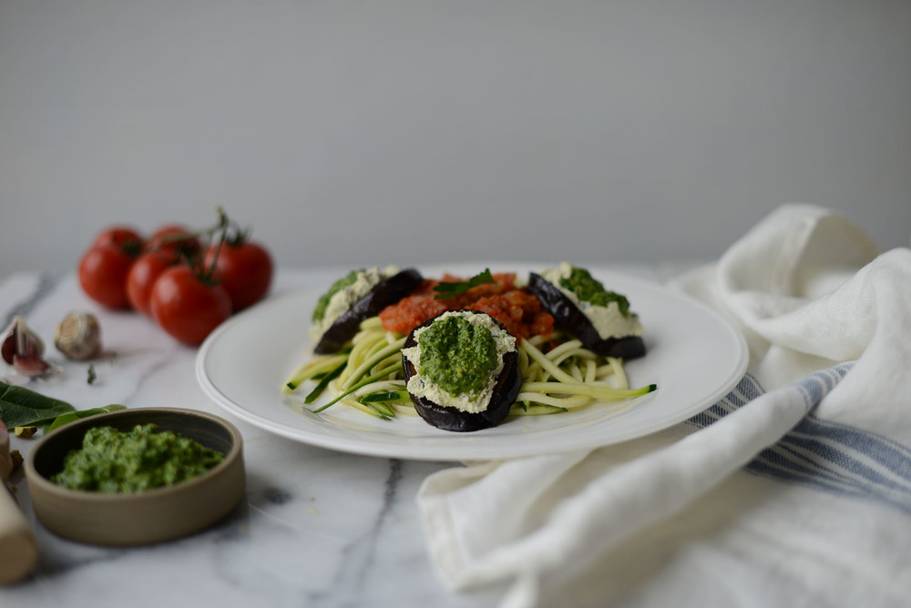 Fare Isle | My Green Valentine: Recipe for Vegan/Gluten FreeZucchini Noodles with Marinara and Roasted Eggplant~Tofu Ricotta~Pistachio Spinach Pesto Stacks