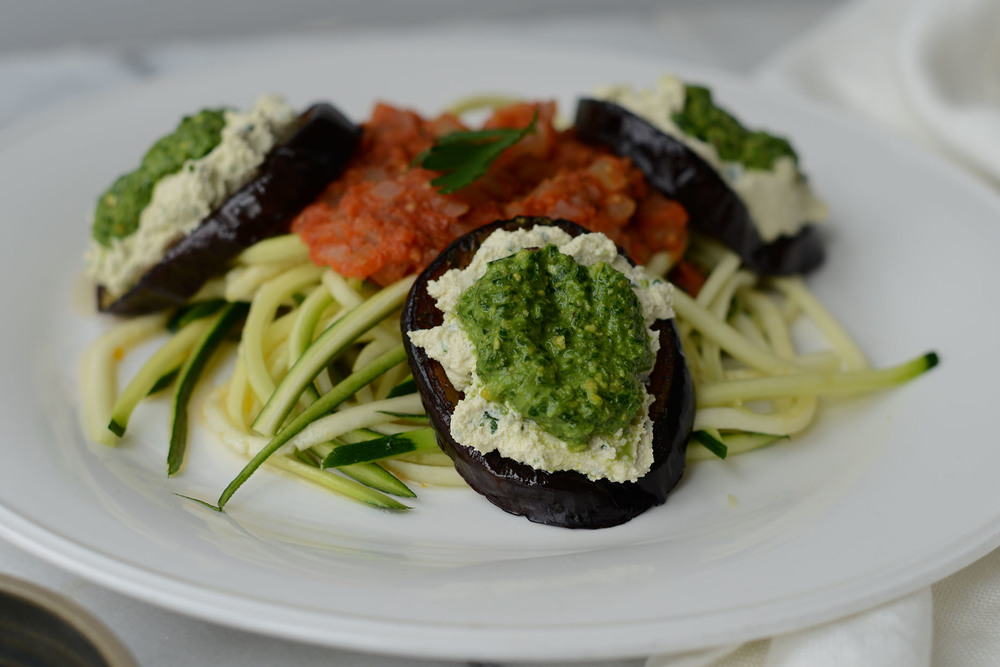 Fare Isle | My Green Valentine: Recipe for Vegan/Gluten Free Zucchini Noodles with Marinara and Roasted Eggplant~Tofu Ricotta~Pistachio Spinach Pesto Stacks