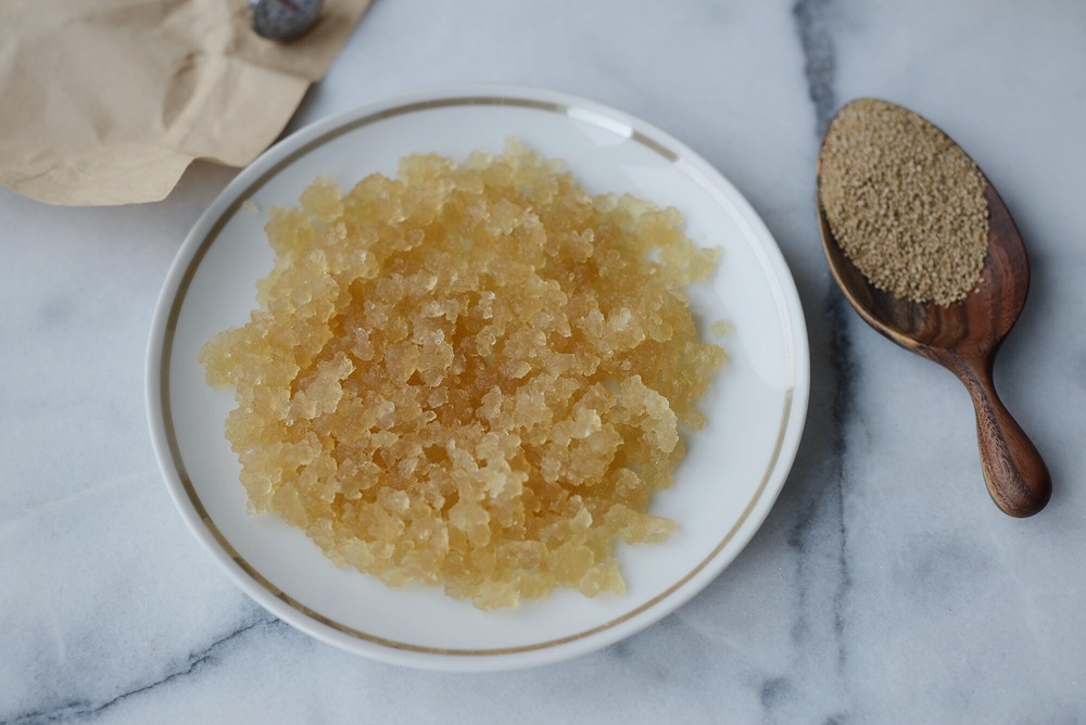 hydrated water kefir grains, they are honey-brown colored from the rapadura water