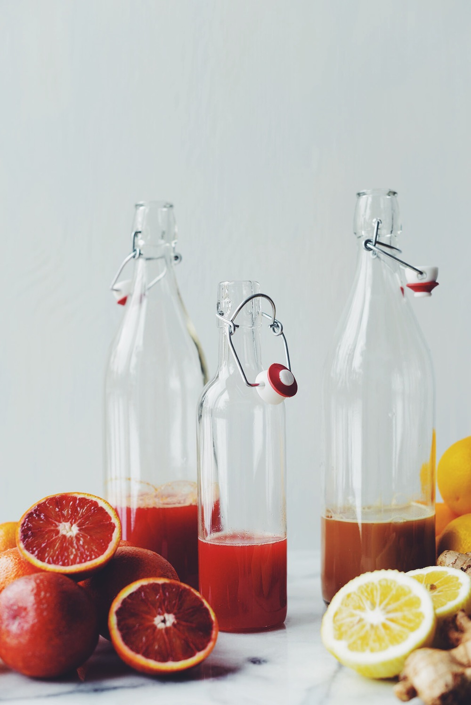 blood orange juice on left, Meyer lemon-gingerade on right
