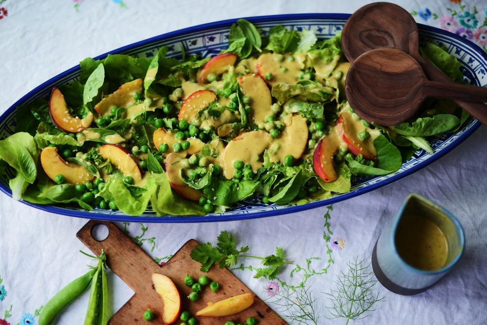 Fare Isle   Iley's Samurai Salad {or Garden Pea & Peach Salad Peach Fennel Vinaigrette} - Vegan & Gluten Free