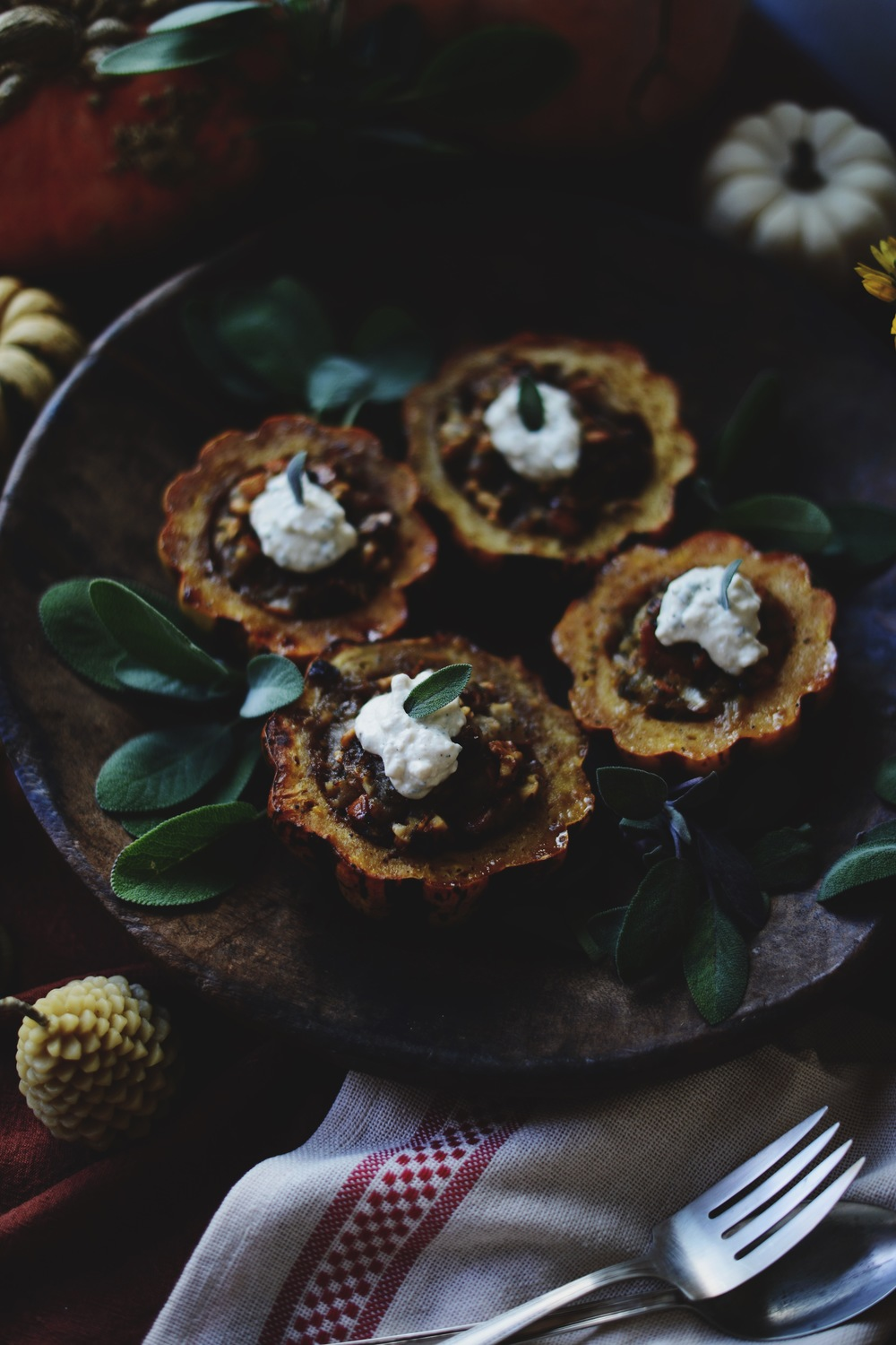 Fare Isle | Maple Walnut Pear Sage Stuffed Squashes with Sage Labneh - Vegan + Gluten Free