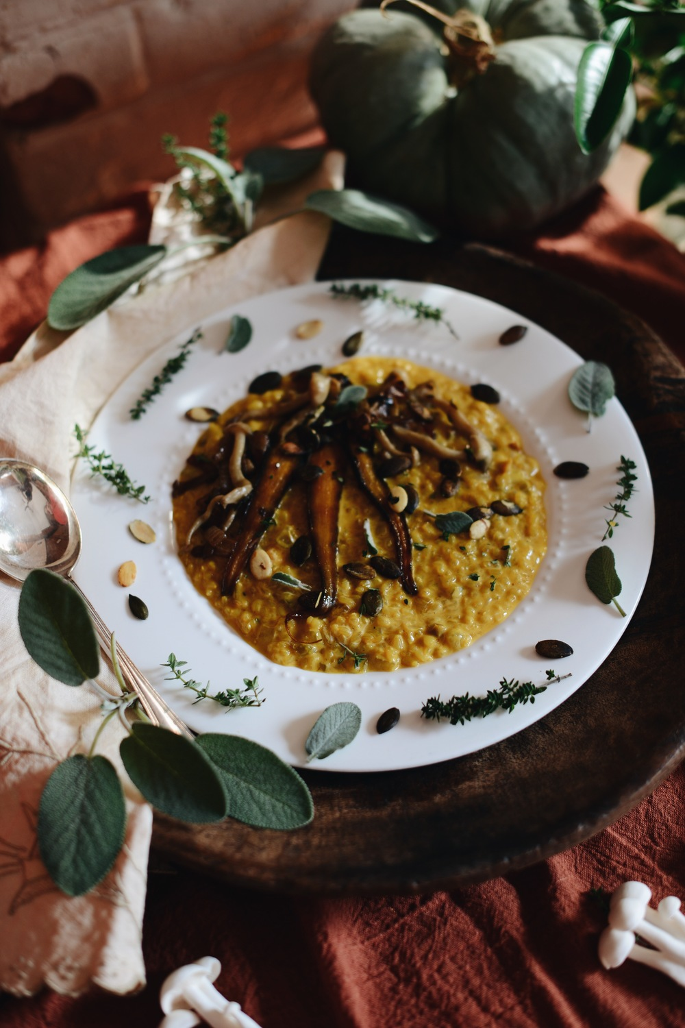 Fare Isle | Pumpkin Sweet Brown Risotto with Maple Glazed Carrots & Wild Mushrooms - Vegan & Gluten Free - Thanksgiving Recipes