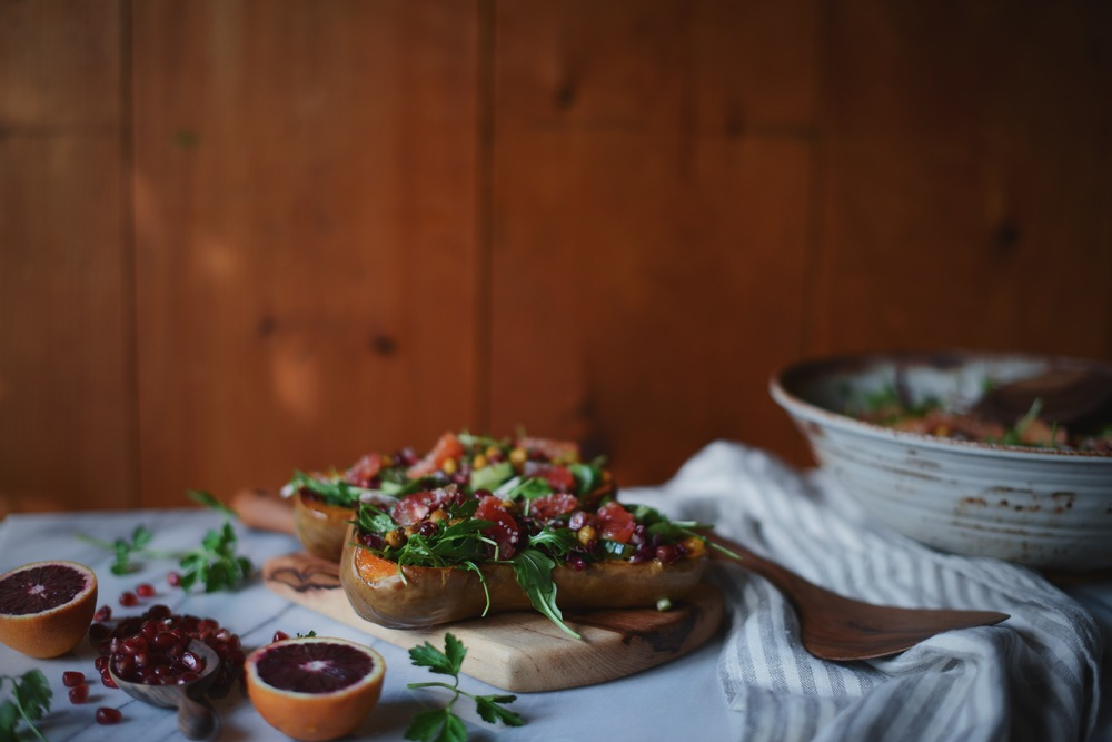 Fare Isle | Winter Rainbow Salad Stuffed Roasted Butternut Squash