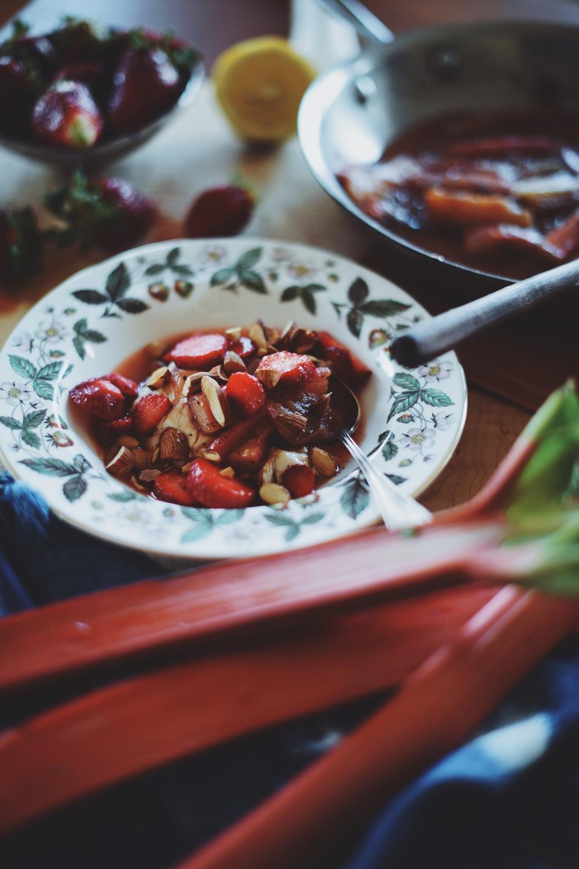 Fare Isle | Simple Vanilla Cardamom Stewed Rhubarb  + Video - Vegan + GF