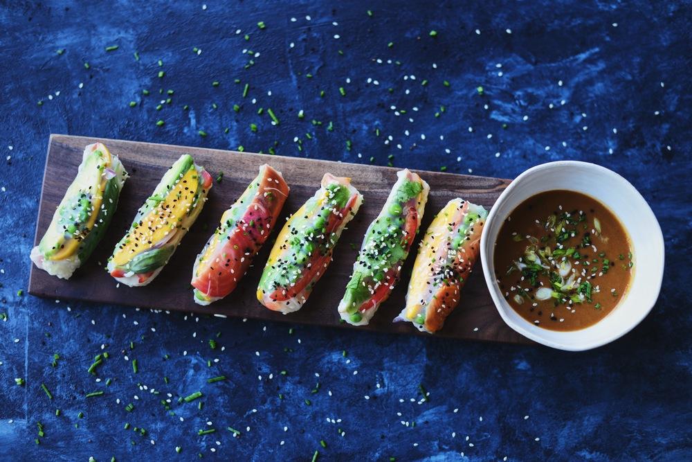 Fare Isle | Rainbow Veggie Summer Rolls with Tahini Dipping Sauce - Vegan and Gluten Free