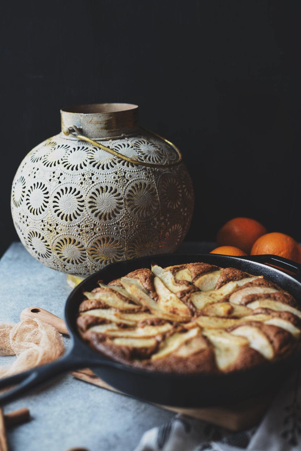 Fare Isle | Vegan Spiced Orange Pear Skillet Cake