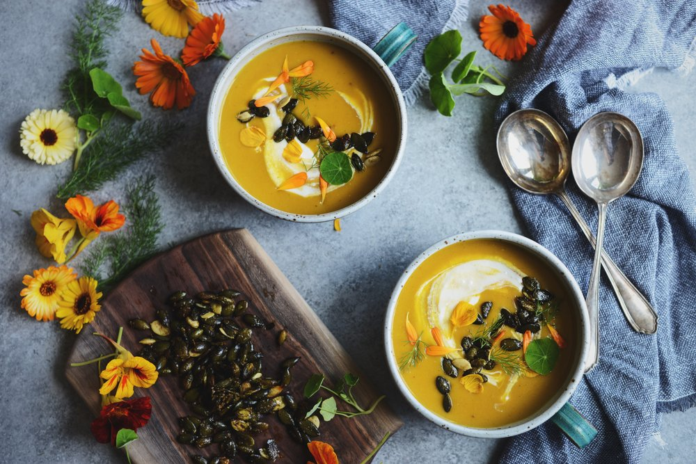 Fare Isle | Vegan Buttercup Squash Soup with maple Spiced Pepitas for Coyuchi