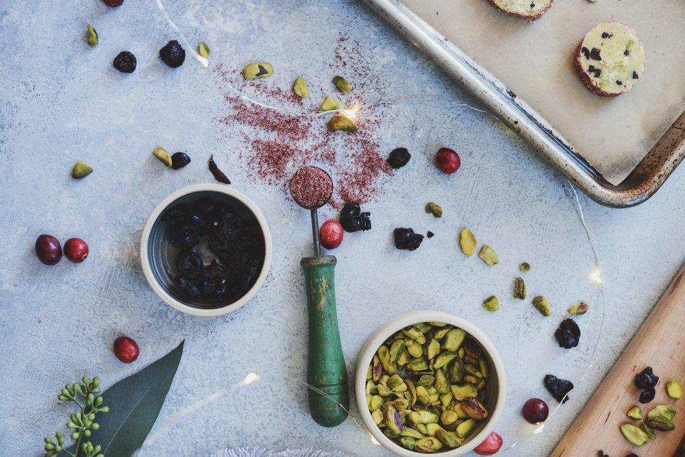 Fare Isle | Vegan Orange Cranberry Pistachio Shortbread Cookies