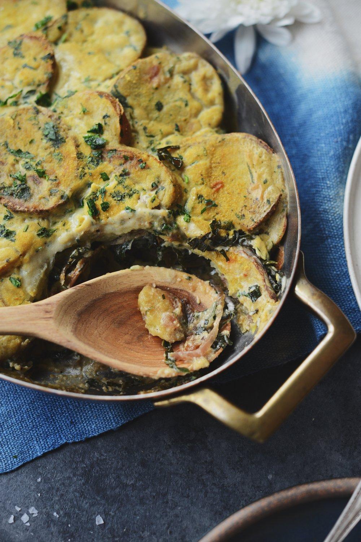 Fare Isle | Vegan Creamy Layered Potato Kale & Caramelized Onion Bake