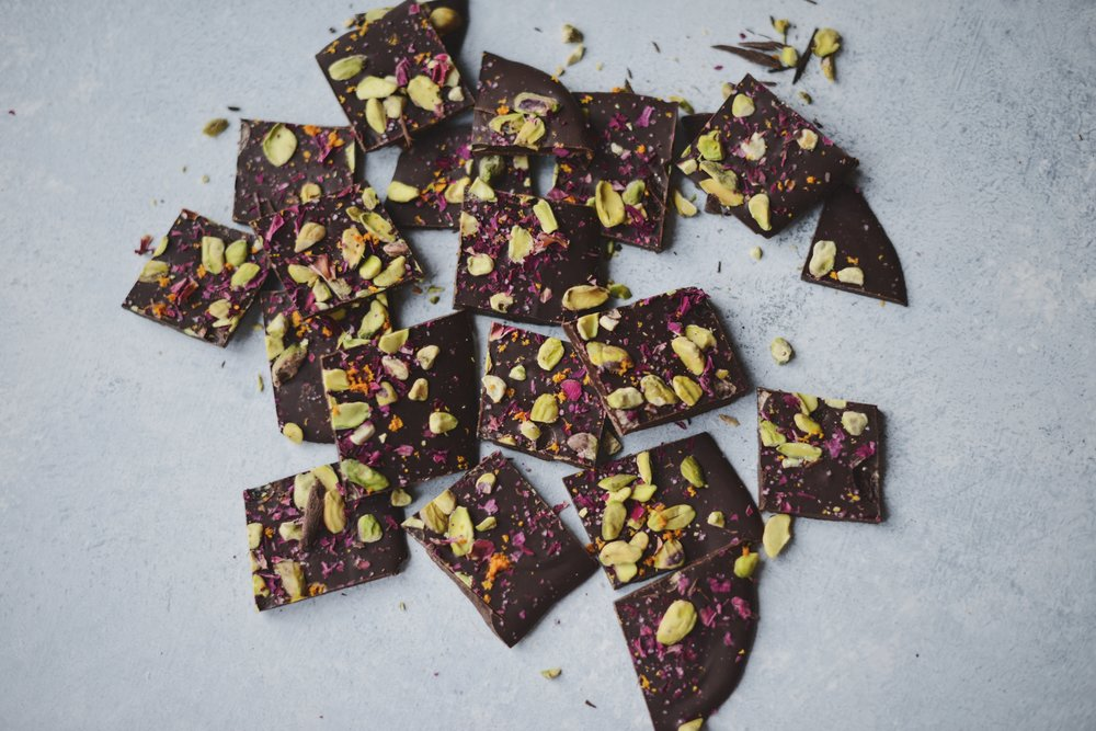 Fare Isle | Vegan Wild Rose ~ Pistachio Dark Chocolate Bark