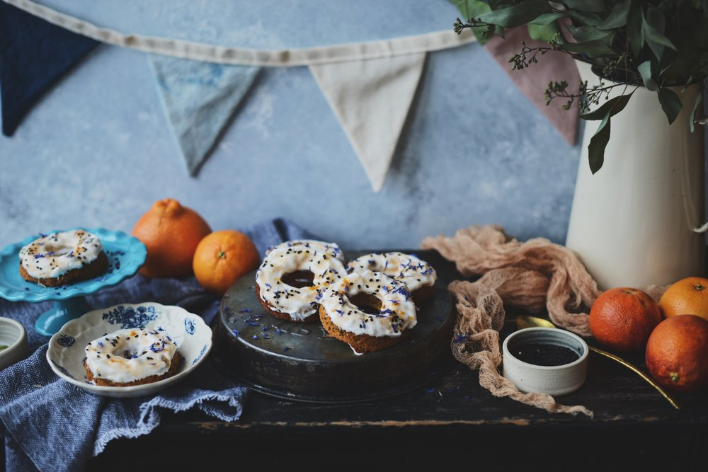 Fare Isle | Red Grapefruit Sesame Cardamom Baked Vegan Donuts