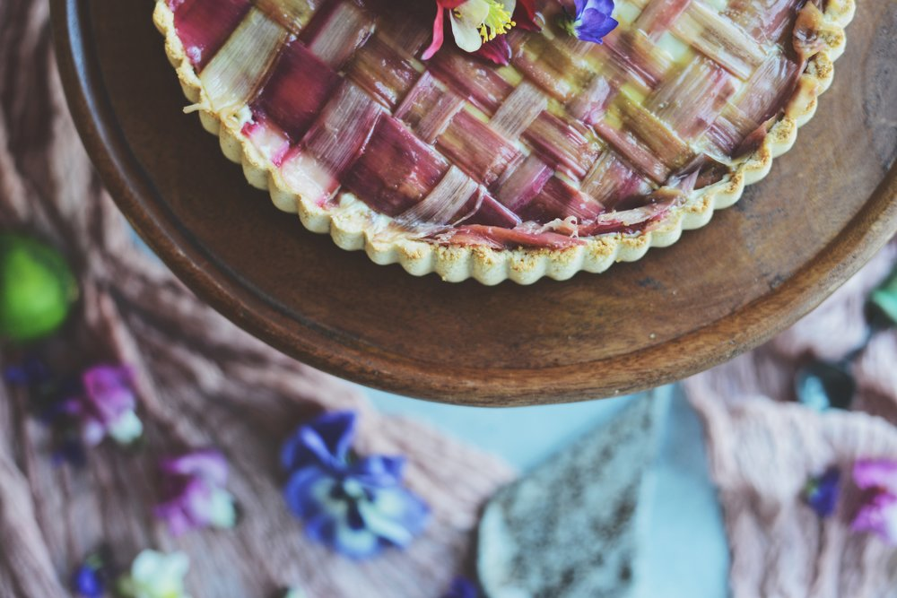 Rhubarb Lime Cashew Cream Tart with Strawberry-Rhubarb ...
