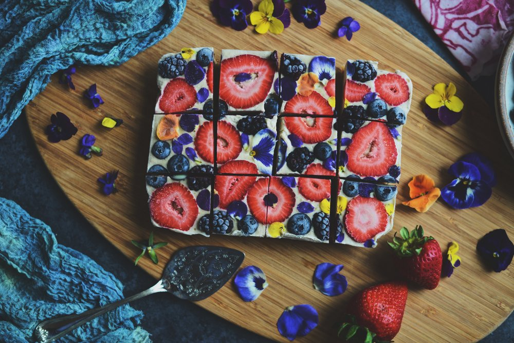 Fare Isle | Raw Vegan Lemon Berries & Cream Slice Cake