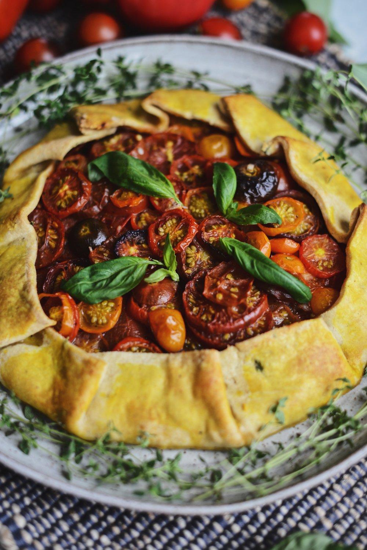 Fare Isle | Rustic Heirloom Tomato Tart - Vegan